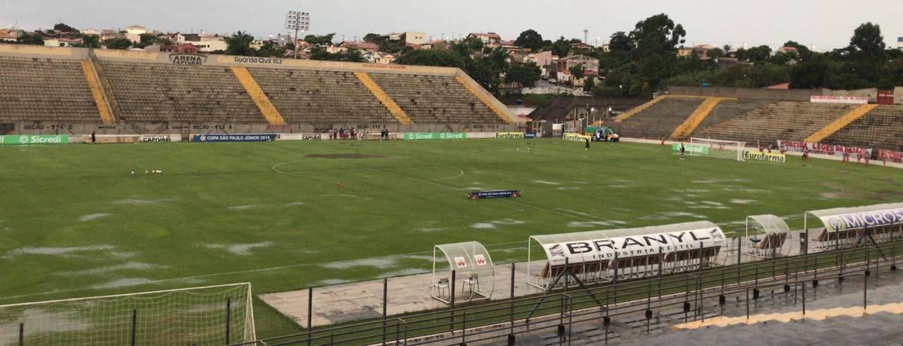 Gramado da Arena Capivari 5 minutos antes do ínicio da partida entre Capivariano e XV de Piracicaba, quase sem poças d'água devido ao sistema de drenagem