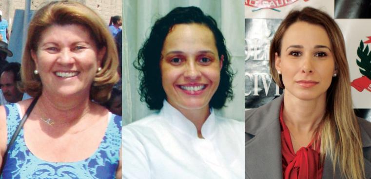 Sandra, presidente do Sindicato dos Servidores Públicos Municipais; Dra Andréa, presidente da APCD - Núcleo de Capivari; Dra Maria Luisa, Delegada de Polícia Titular de Capivari.
