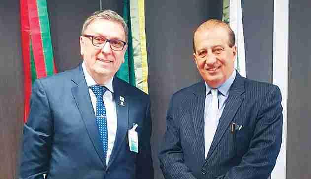 Pascoal Marracini, diretor do Instituto do Câncer e o Ministro Augusto Nardes, durante reunião no Tribunal de Contas da União, terça feira pp.