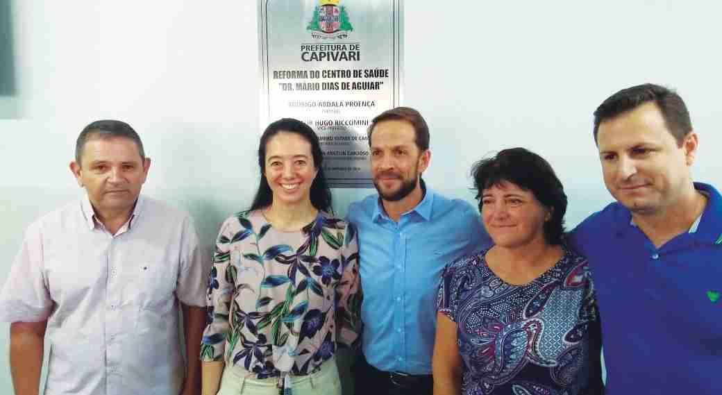 Vereador Valdir; Alessandra, secretária de Saúde; prefeito Rodrigo,  secretária de Obras, Joceli Cardoso, e o vereador Bruno Barnabé da Silva